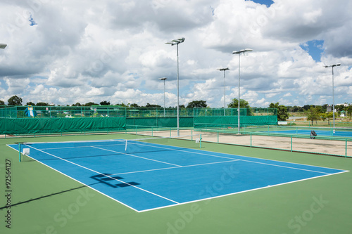 plakat Tennis court outdoor for training and competition.