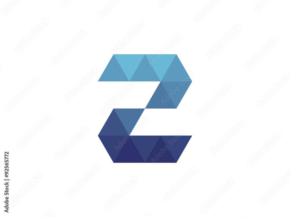 Fototapeta 2 Number  Blue Triangle Geometric Logo