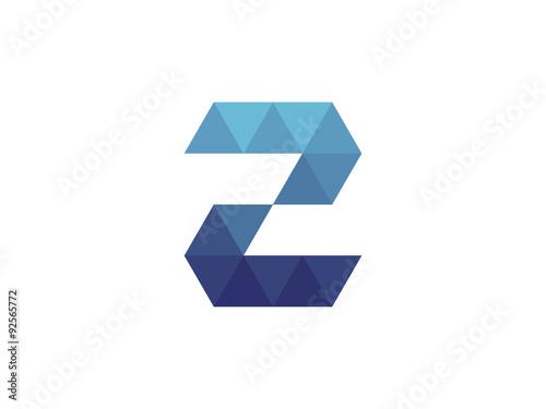 2 Number Blue Triangle Geometric Logo
