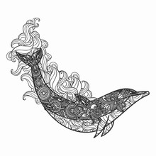 Hand Drawn Dolphin For Adult A...