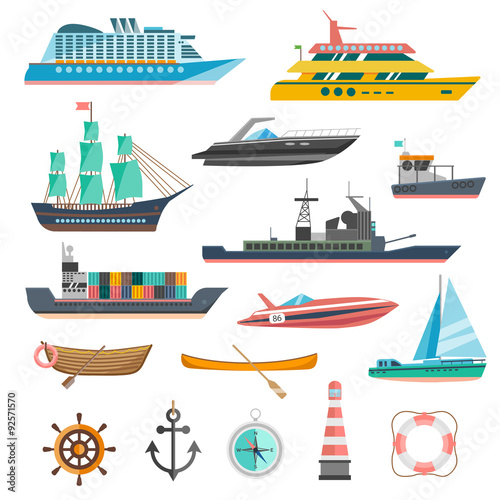 Fotomural Ships Icons Set