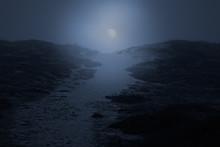 Sea Dune Path At Night