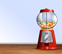 Retro Gumball Machine On Floor