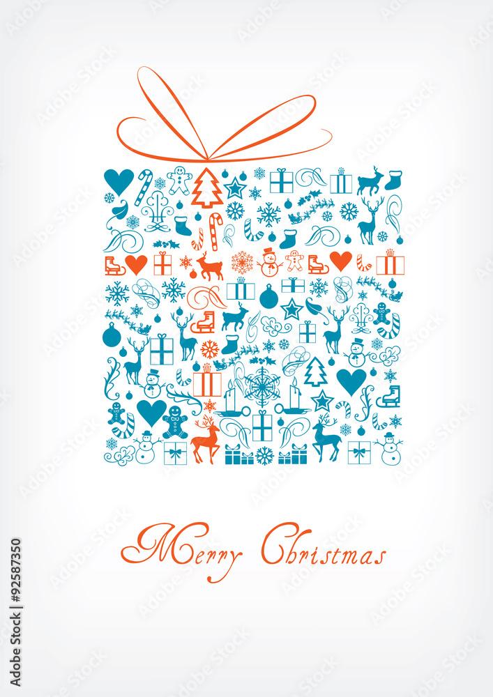 Christmas Gift Card Poster.Fotografia Merry Christmas Gift Card Greeting Card Kup