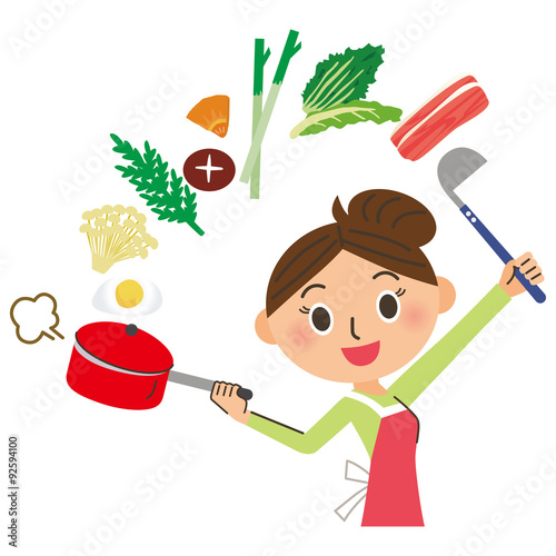 Fotografie, Obraz  料理をするママ