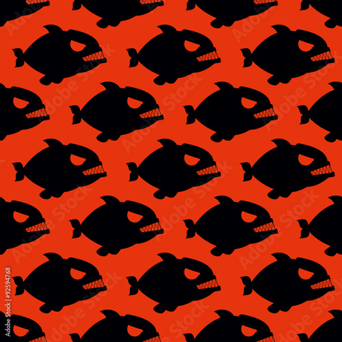 Valokuva  Aggressive seamless pattern from Piranha. Fish silhouettes with