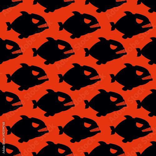 Fotografia, Obraz  Aggressive seamless pattern from Piranha. Fish silhouettes with