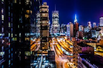 Panel Szklany Miasto nocą Luces de Nueva York