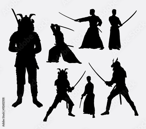 Samurai Male Japanese Warrior Silhouettes Good Use For Symbol