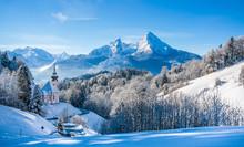 Idyllic Winter Landscape With Chapel In The Alps, Berchtesgadener Land, Bavaria, Germany