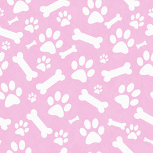 Pink And White Dog Paw Prints ...