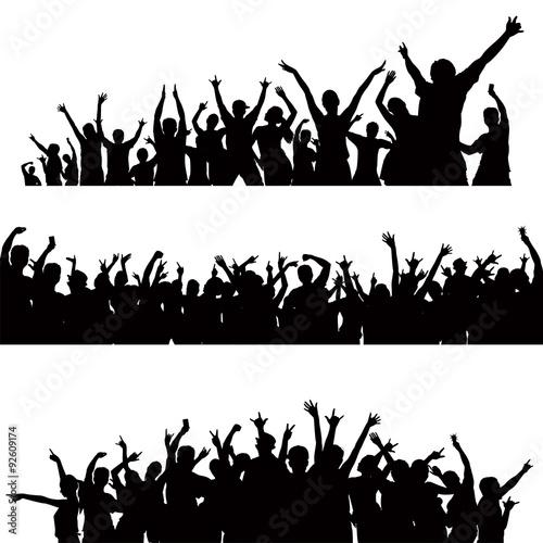 Fototapeta crowd celebrating silhouette vector obraz