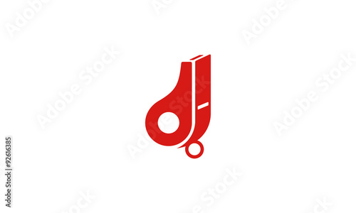 Red whistle symbol icon vector logo design concept Canvas Print