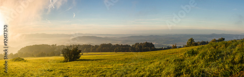 Foto op Plexiglas Landschappen Panorama of mountain landscape at sunrise