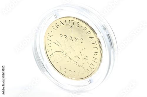 Poster  französischer  Goldfranc isoliert auf weißem Hintergrund