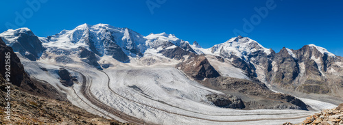 Printed kitchen splashbacks Glaciers Panorama view of Bernina massive and glacier