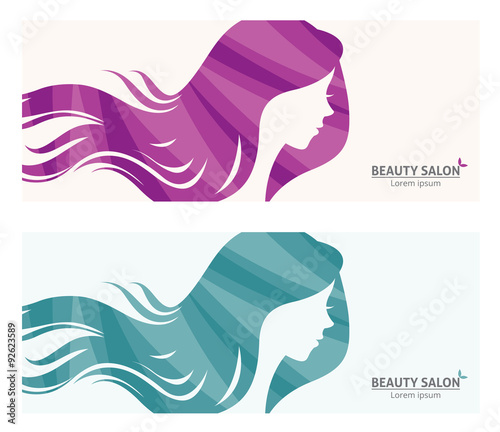 Banner or business card stylized woman profile for beauty salon/Illustration of template banner or business card stylized long-haired woman for beauty salon #92623589