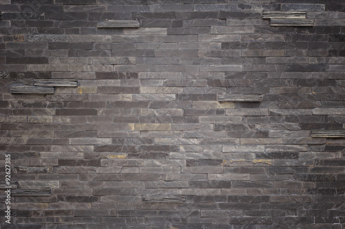 Fotografie, Obraz  Black slate wall texture and background