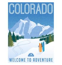Retro Style Travel Poster Or Sticker. United States, Colorado Ski Mountains