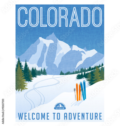 Retro style travel poster or sticker. United States, Colorado Ski mountains