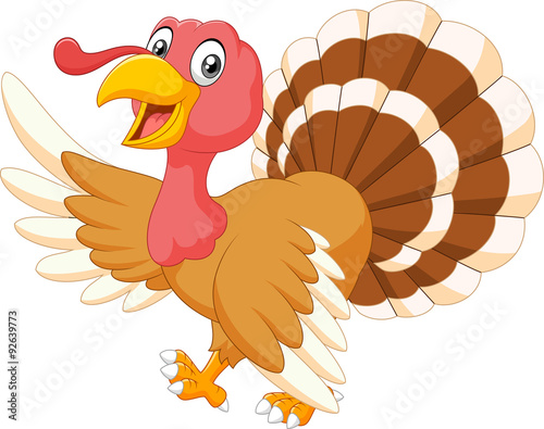 Fotografia  Cartoon turkey waving isolated on white background