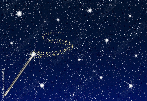 Fotografie, Obraz  Winter night with falling snowflakes, magic wand and stream of stars
