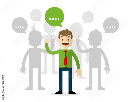 Photo  Vector of a businessmen in forums, talking.