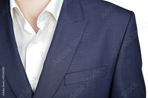 Photo Double-breasted mens blazer with a navy blue small checkered pat