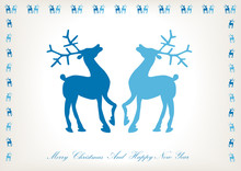 Vector Card With Blue Deer Silhouettes