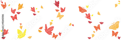 Papillons dans Grunge Bunte Schmetterlinge | skizziert