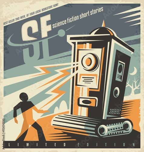 Fotografia Retro bookstore poster design idea for science fiction novels