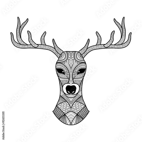 deer head stylized in zentangle style tribal tattoo design vector illustration buy this. Black Bedroom Furniture Sets. Home Design Ideas