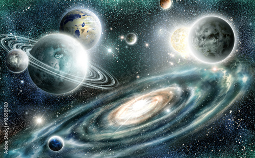 Photo sur Toile Photo du jour Solar system and spiral galaxy