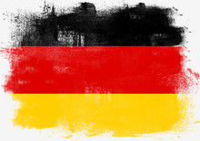 Flag Of Germany Painted With Brush