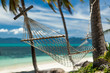 Hammock hung between palm trees on a tropical beach