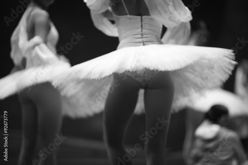Poster Cygne Athletic body of a ballet dancer, back view