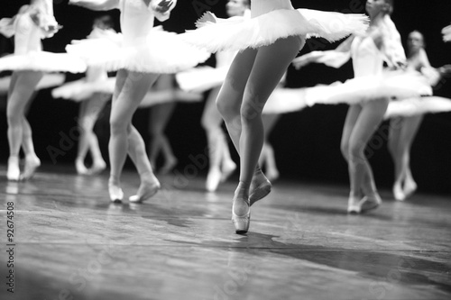 Poster Cygne Ballerinas flitting on stage