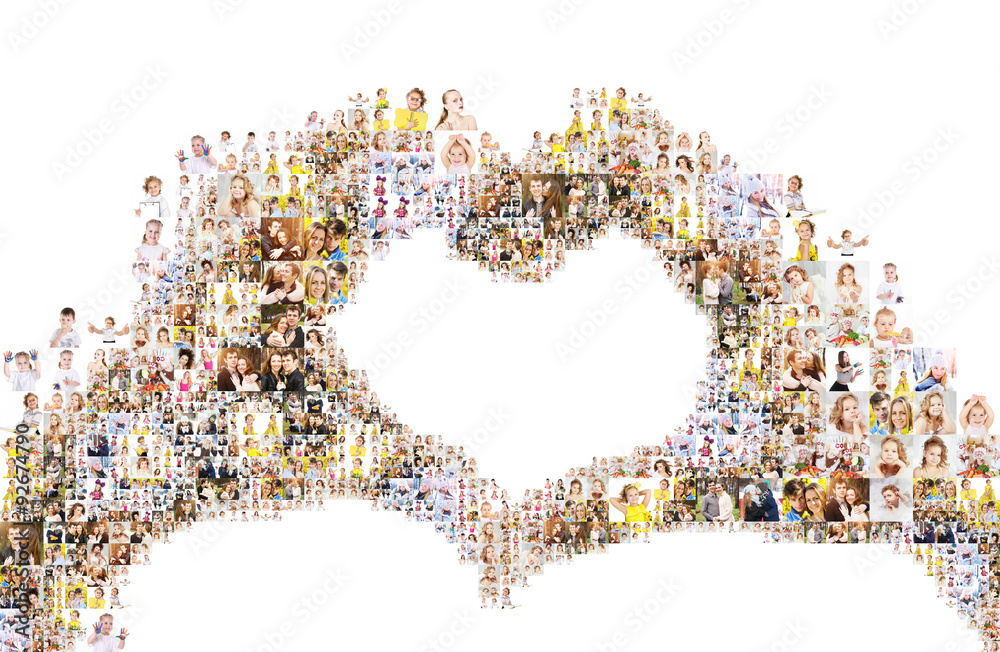 Fototapeta a large number of photographs of people, forms an image of the heart. Collage isolated on white background. Design idea edges are not smooth with protruding photos