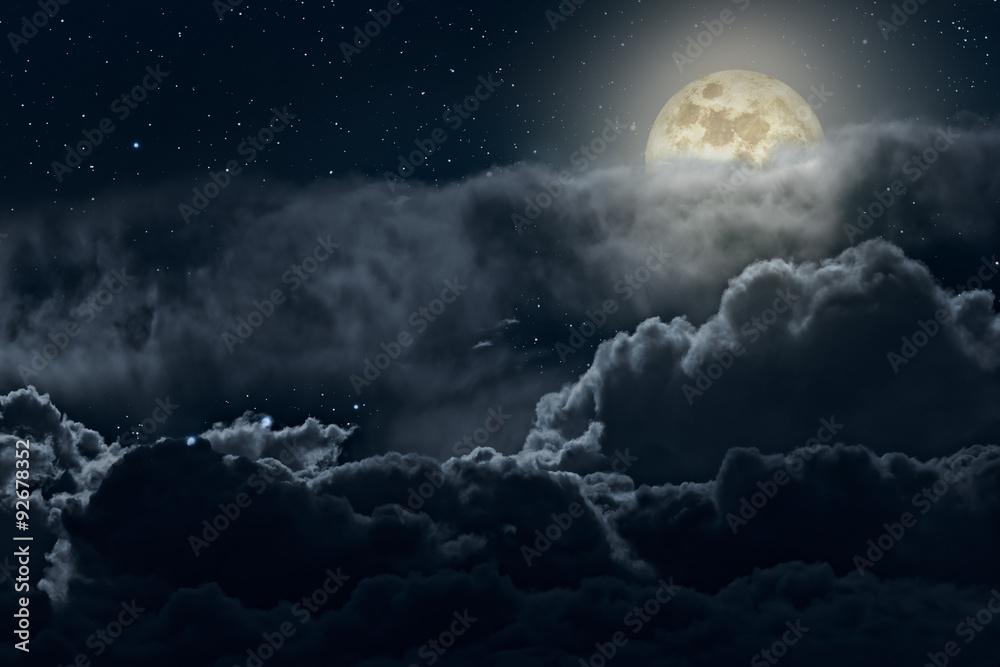 Fotografie, Obraz Cloudy full moon night