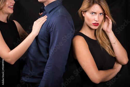 Man betraying his girlfriend Canvas Print