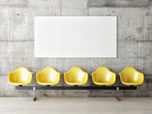 Waiting Room With Poster, Five Yellow Chairs, 3d Render