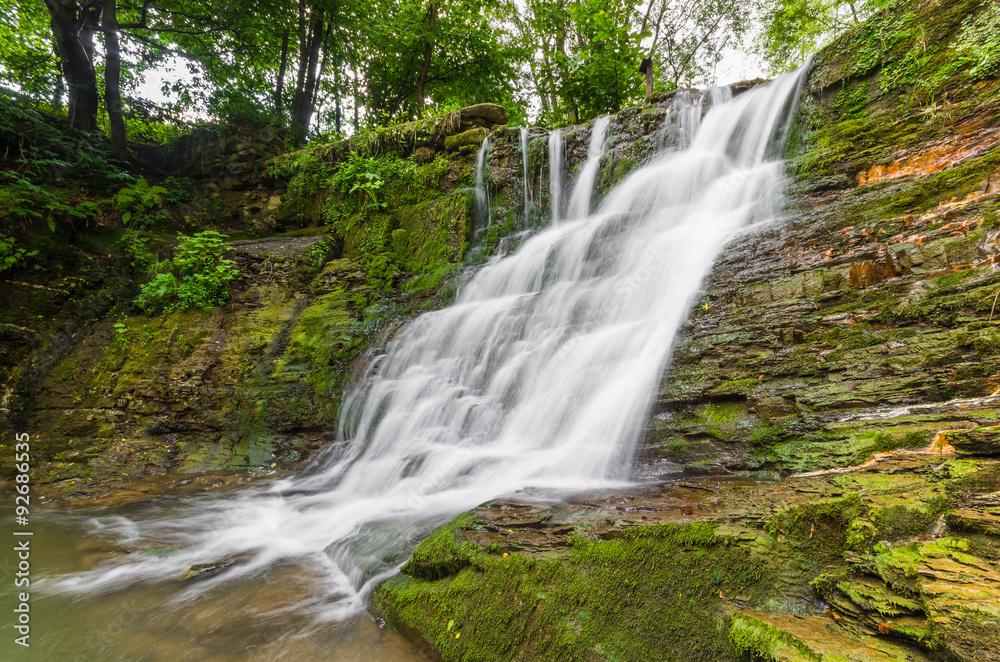 Waterfall in Iwla, Beskid Niski mountain range in Polish Carpathian Mountains