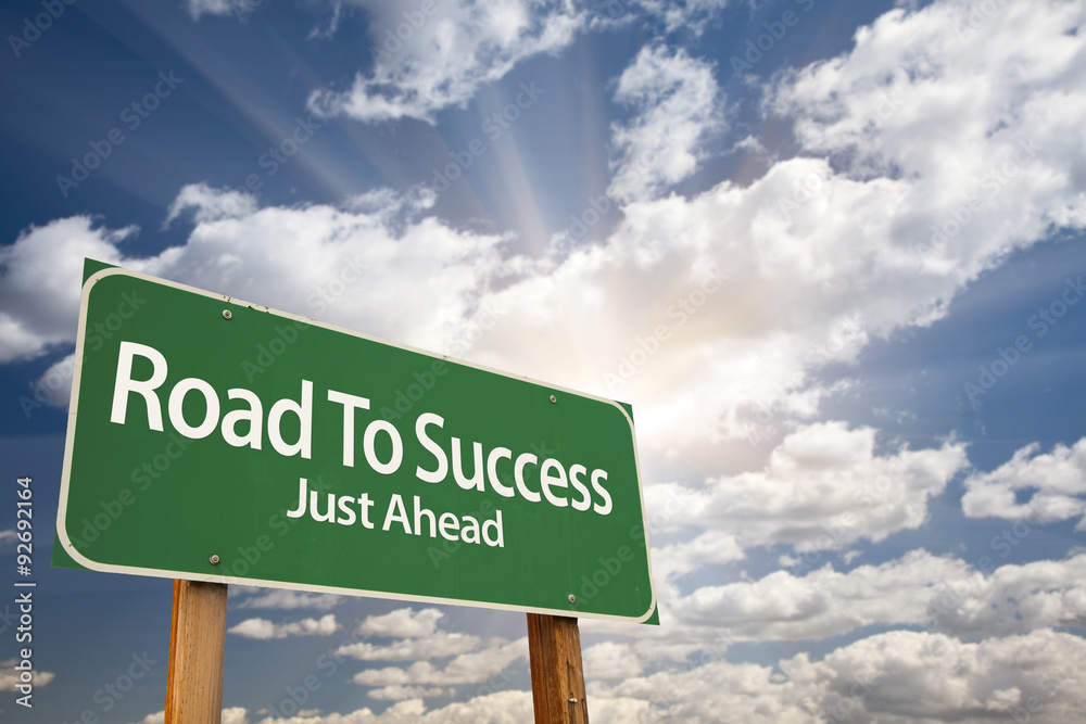 Fototapeta Road To Success Green Road Sign Over Clouds