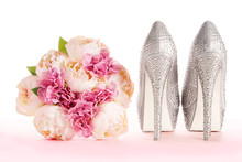 A Bouquet And Brilliant Silver Shoes. Wedding Bridal Fashion Image.