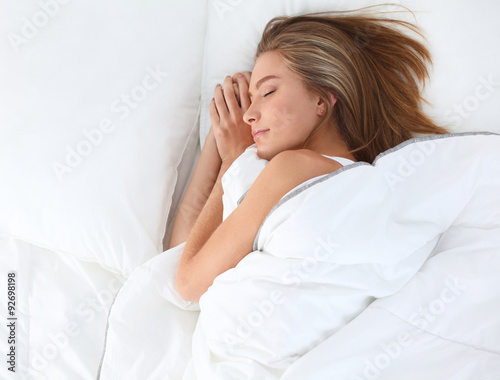 Fototapety, obrazy: Beautiful girl sleeps in the bedroom