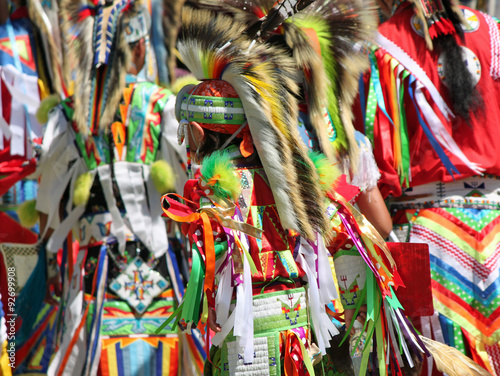 Poster Bird-of-paradise flower Colorful Native American Regalia at a Summer Powwow