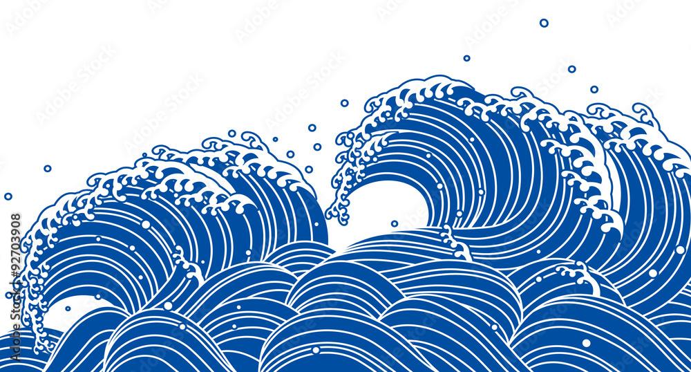 Fototapeta 和風の青い波