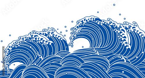 Canvas Print 和風の青い波