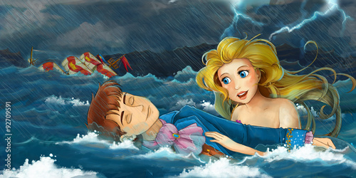 Cartoon adventure scene - storm on the sea - scene with mermaid rescuing someone - illustration for the children