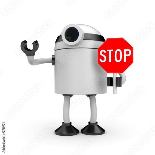 Obraz na plátne Robot with STOP sign